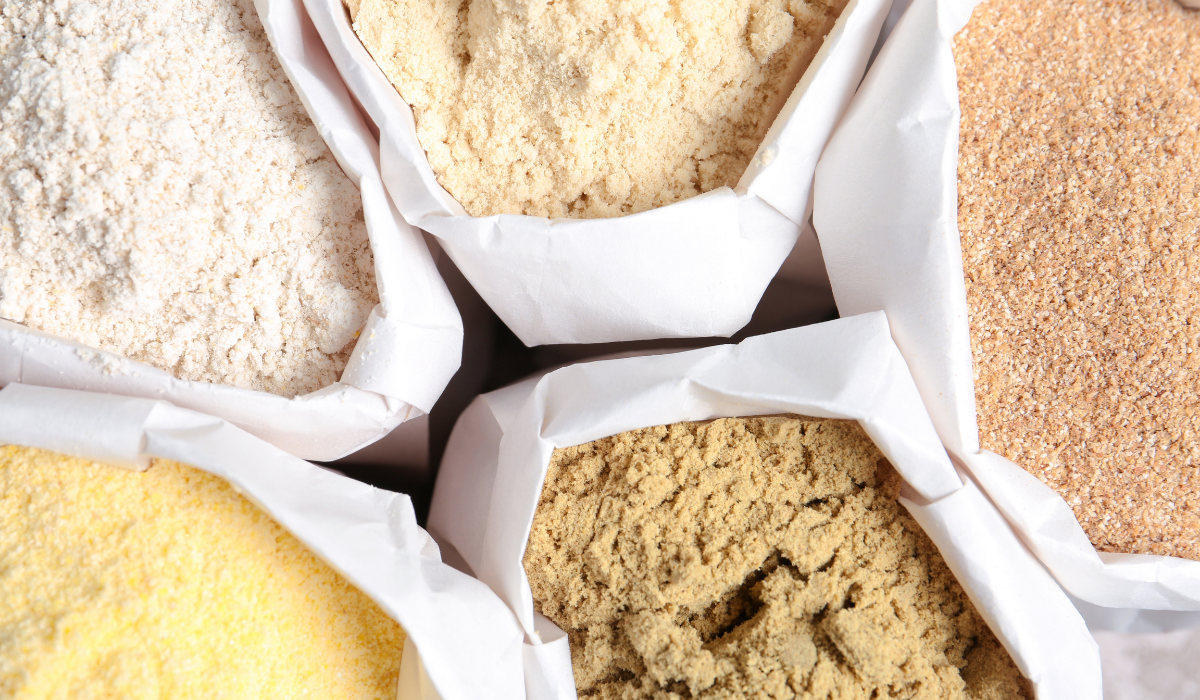 different bags of different flours
