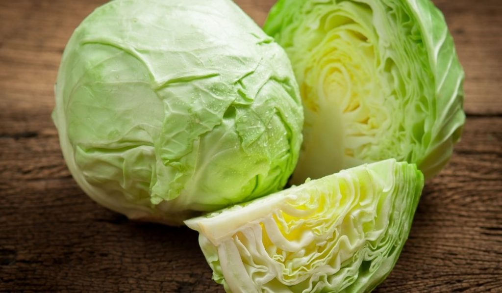 cabbage on the wooden table